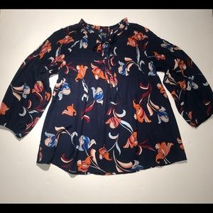 Ana Women's Navy Floral Blouse